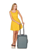Girl standing with suitcase for travel and smiling Stock Photos