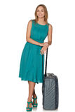 Girl standing with suitcase for travel and smiling Stock Photography