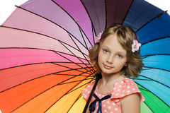 Girl standing with umbrella Stock Photography