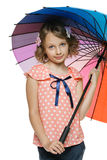Girl standing with umbrella Royalty Free Stock Photography