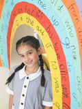 Girl Standing Under Painted Arch In Class Stock Images