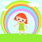 Girl standing under a rainbow Stock Photos