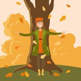 A girl standing under a tree stock illustration