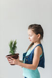 Girl standing on a white background with a plant on Earth Day Stock Photos