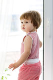 Girl standing at the window Stock Images