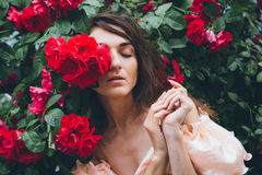 Girl stands against a background bushes with red roses Royalty Free Stock Images