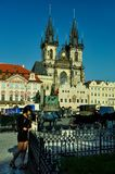 girl stands on the background of the cathedral of Bohemia in Prague stock images