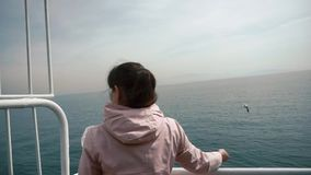 The girl stands on Board the ship and feeds the seagulls flying around.  stock footage