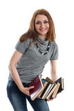 Girl stands with books Stock Photography
