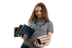Girl stands with books Stock Photos
