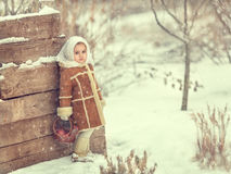 A girl stands at a fence in the winter. Stock Photography