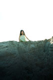 Girl Stands on Hill Stock Images