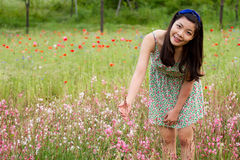 Girl stands in poppy field royalty free stock image