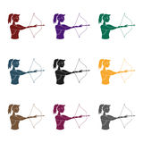 A girl stands in profile and holds the bow.Shooting a bow at a target.active sports single icon in black style vector. Symbol stock web illustration Royalty Free Stock Photo