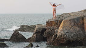 Girl stands on a rock stock video
