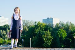 Girl stands with textbooks on the street, on the right there is a place for an inscription. A girl stands with textbooks on the street, on the right there is a Stock Photography