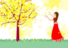 Girl and Star tree Stock Photos