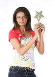 Girl with star trophy Royalty Free Stock Photography