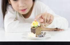The girl stared cake Stock Photos