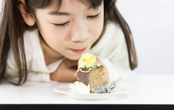 The girl stared cake Stock Images