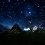 Girl and starfield Royalty Free Stock Photography