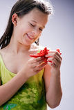 Girl with starfish Royalty Free Stock Photography