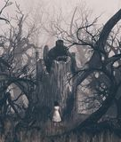 Girl staring at a ghost tree in creepy forest royalty free stock photo