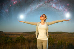 Girl and a starry sky. Royalty Free Stock Images