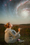 Girl and a starry sky. Stock Photo