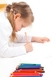 Girl starting to draw a picture Royalty Free Stock Photography