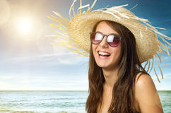 Girl with Staw Hat Stock Photography