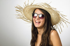 Girl with Staw Hat Royalty Free Stock Photography