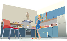 In the kitchen. Girl stay in her kitchen full of food Stock Photos