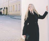 Girl And Wall stock photo