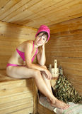 Girl is steamed in the sauna Royalty Free Stock Image