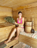 Girl is steamed in the sauna Stock Image