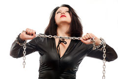 Girl and a steel chain Stock Photography