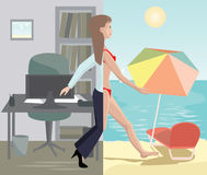 Girl stepping from office to sea beach Royalty Free Stock Image