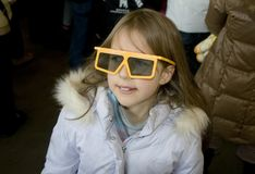 Girl in stereo glasses. Girl who is going to watch stereo cinema stock images