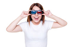 Girl in stereo glasses. Happy girl in stereo glasses over white background stock photo