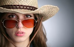 Girl in stetson Royalty Free Stock Photography