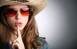 Girl in stetson Stock Photos