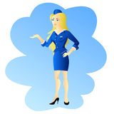 Girl stewardess invite travel Royalty Free Stock Images