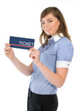 Girl stewardess showing a ticket Royalty Free Stock Photography