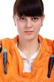 Girl in stewardess uniform Stock Photos