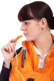 Girl in stewardess uniform Stock Photography