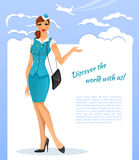 Girl in stewardess uniform Royalty Free Stock Image