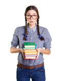 Girl with stick of  books Royalty Free Stock Photos