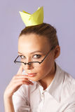 Girl with sticker crown. Usiness woman with a stickers crown Royalty Free Stock Photos