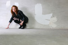 Girl stockings boots leather jackets Stock Photos